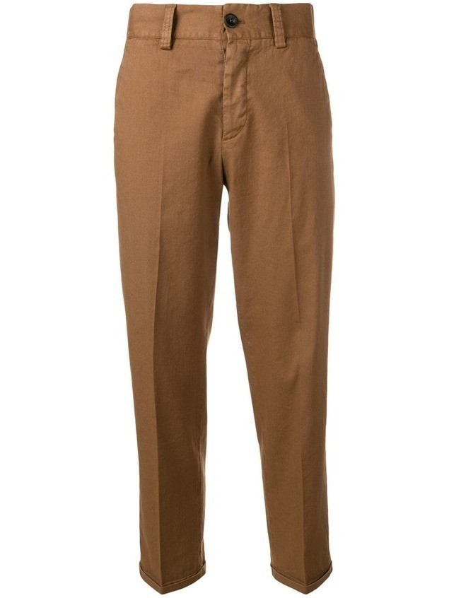 Pt01 cropped tailored chinos - Brown