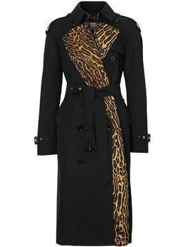Burberry leopard-print lined trench coat - Black