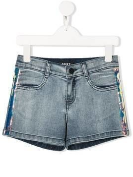 Dkny Kids holographic stripe denim shorts - Blue