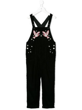 Stella Mccartney Kids embroidered velvet dungarees - Black