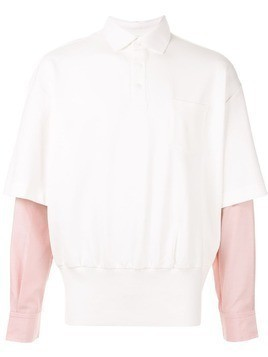Fengchen Wang layered sleeve polo shirt - White