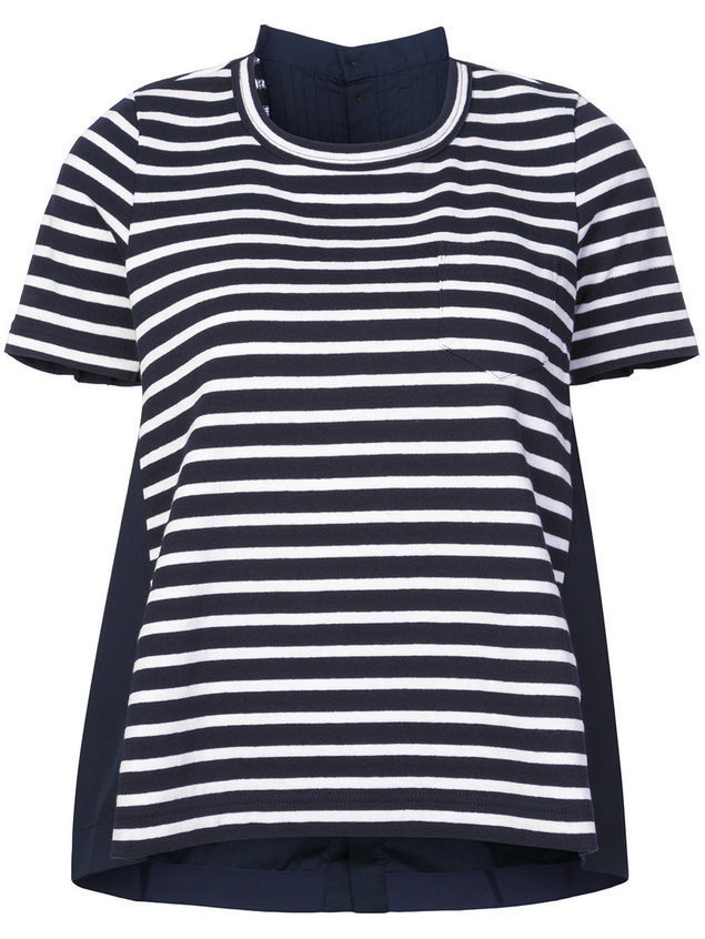 Sacai striped T-shirt - Blue