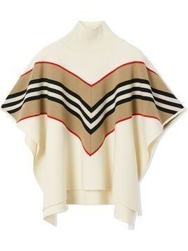 Burberry Kids signature stripe cape jacket - Neutrals