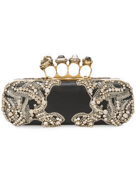 Alexander McQueen jeweled four-ring clutch - Black