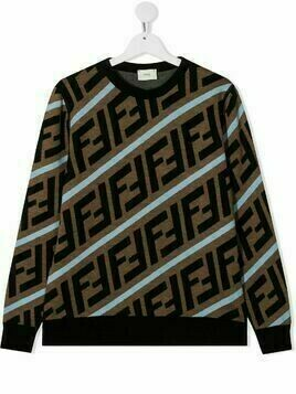 Fendi Kids TEEN FF intarsia-knit jumper - Brown