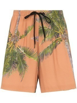 Duo palm print logo tape shorts - Neutrals