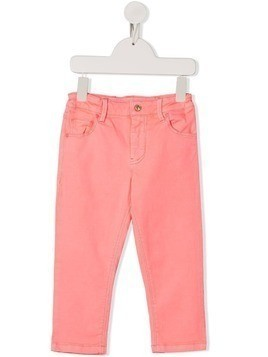 Billieblush floral embroidered rear logo patch trousers - PINK
