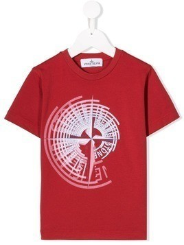 Stone Island Junior graphic logo print T-shirt - Red