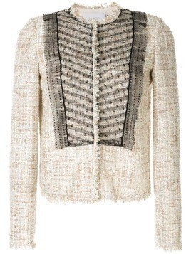 Giambattista Valli bouclé-tweed mesh jacket - NEUTRALS