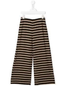 Caffe' D'orzo Sara striped wide-leg trousers - Brown
