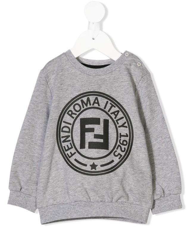 Fendi Kids logo printed sweatshirt - Grey