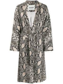 Ava Adore snakeskin-print belted coat - NEUTRALS