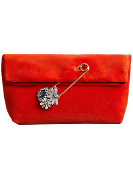 Burberry The Small Pin Clutch in Velvet - Yellow & Orange