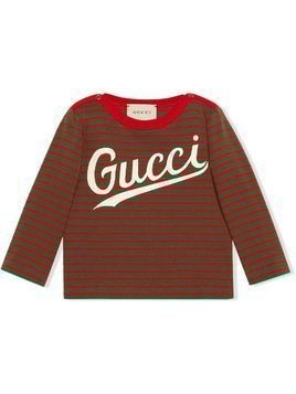 Gucci Kids striped logo-print T-shirt - Red