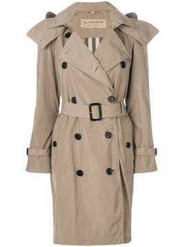 Burberry Detachable Hood Tafetta Trench Coat - Nude & Neutrals
