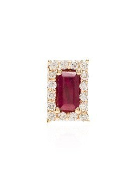 Alison Lou 14kt yellow gold R ruby stud earring