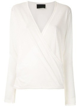 Andrea Bogosian long sleveed wrap blouse - White