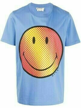 Marni smile-print cotton T-shirt - Blue