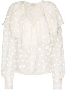 Alexandre Vauthier ruffle-panel spotted blouse - White