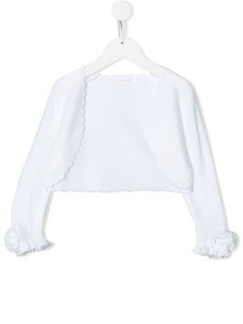Mimilù ruffled sleeve scalloped cardigan - White