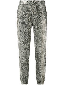 Gold Hawk snake-print trousers - Black