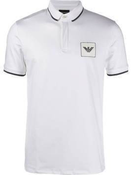 Emporio Armani contrast-tipped logo-embroidered polo shirt - White