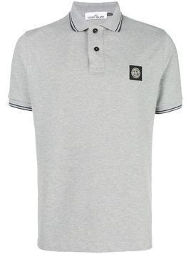 Stone Island stripe trim polo shirt - Grey