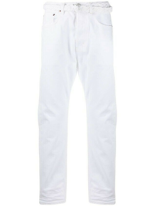 Haikure tie-waist cropped jeans - White
