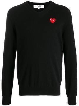 Comme Des Garçons Play logo embroidered sweater - Black