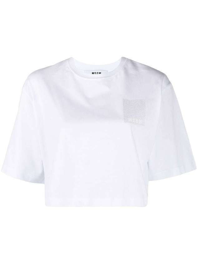 MSGM cropped logo T-shirt - White