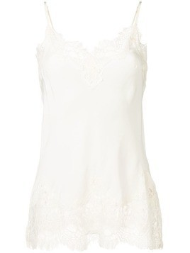 Gold Hawk lace trim vest - White