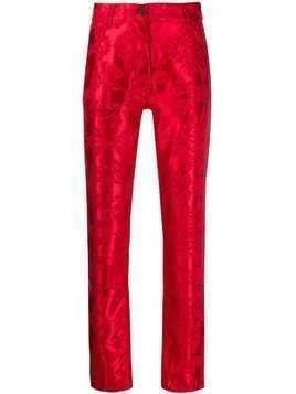 Ann Demeulemeester slim-fit tapestry effect trousers - Red