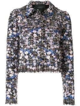 Giambattista Valli bouclé-tweed floral jacket - Blue