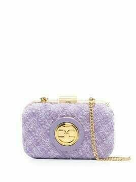 Elisabetta Franchi tweed mini clutch bag - Purple
