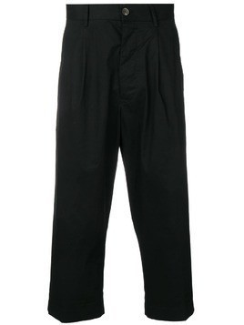 Covert cropped tailored trousers - Black