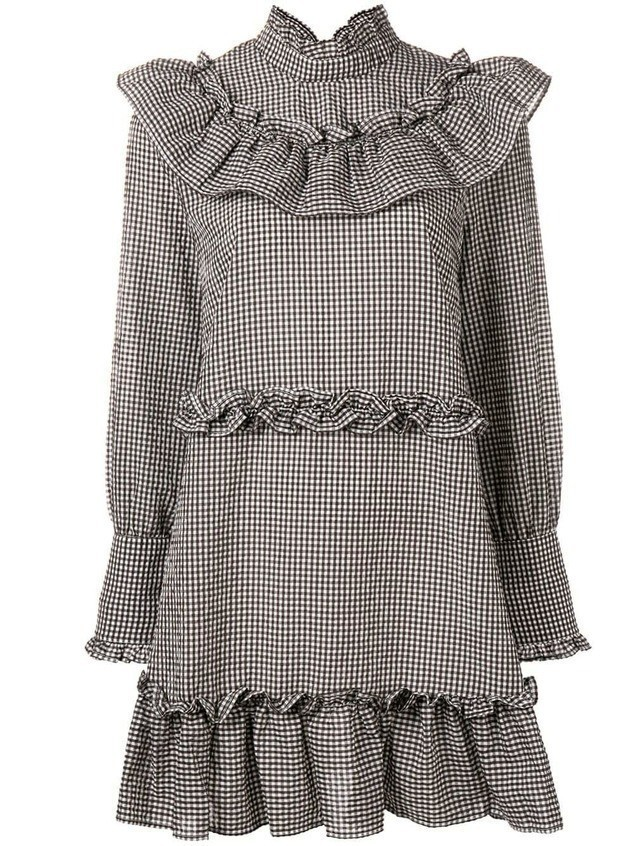 Ganni checked ruffled dress - Black