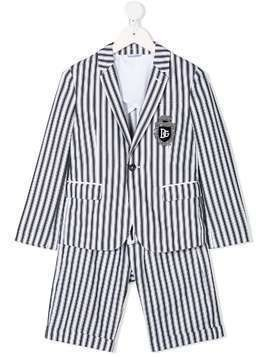 Dolce & Gabbana Kids DNA logo patch striped suit - Grey