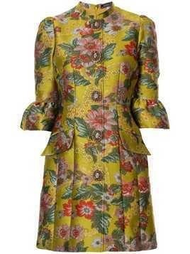 Andrew Gn brocade fitted dress - Yellow
