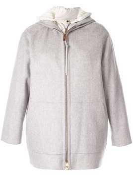 Agnona hooded layered jacket - Grey