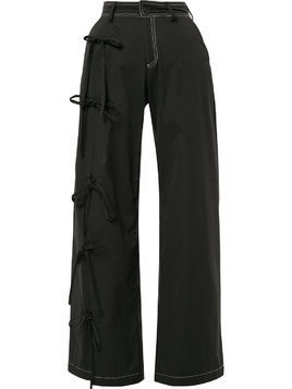 Blindness side bow detail trousers - Black