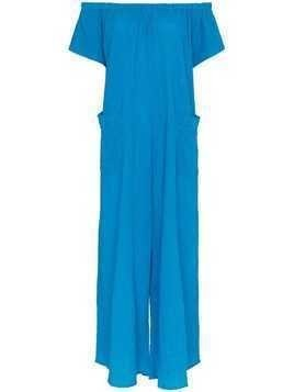 Mara Hoffman Blance off-shoulder cotton jumpsuit - Blue