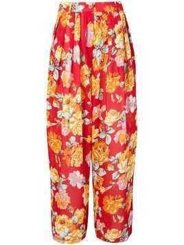 Kenzo Pre-Owned floral wide-legged trousers - Red