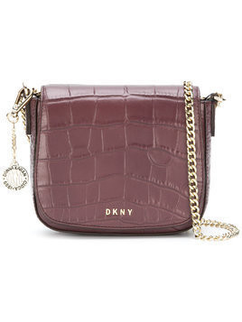 DKNY Croc embossed shoulder bag - Brown