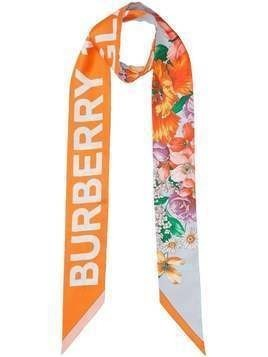 Burberry floral and logo print skinny scarf - ORANGE