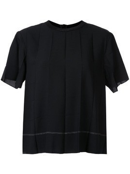 Kuho pleated design T-shirt - Black