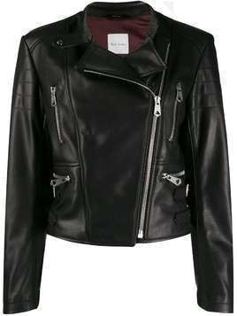 Paul Smith off-centre zipped biker jacket - Black