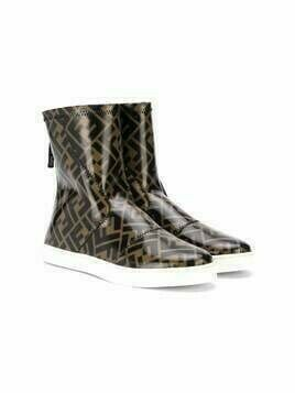 Fendi Kids TEEN FF-motif boots - Brown