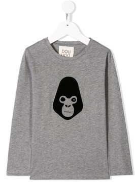 Douuod Kids monkey print T-shirt - Grey