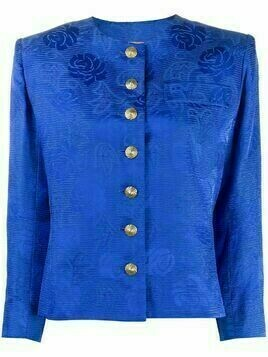 Yves Saint Laurent Pre-Owned 2000s floral jacquard collarless jacket - Blue