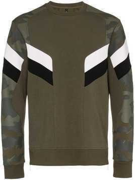 Neil Barrett camo print and ribbed edge cotton-blend jumper - Green